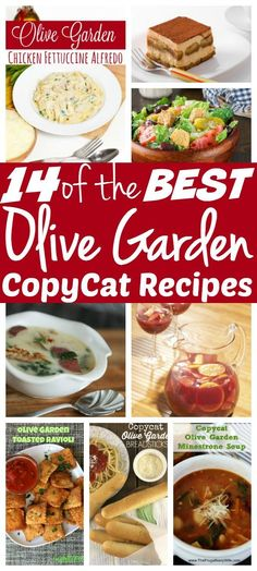 Looking for the BEST CopyCat Olive Garden Recipes? Check out this top 14 from their famous breadstick recipe and salad dressing to their pasta sauce and Sangria! Which ones will you be adding to your (Best Salad Olive Gardens) Fettucine Alfredo, Chicken Fettuccine, Olives, Olive Garden Minestrone Soup, Olive Garden Recipes, Copycat Olive Garden Alfredo, Olive Garden Salad, Olive Recipes, Copykat Recipes