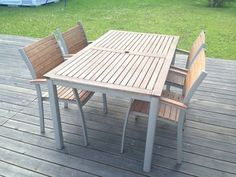 Trädgårdsmöbler i hardwood och aluminium Outdoor Tables, Outdoor Decor, Hardwood, Outdoor Furniture, Home Decor, Interior Design, Home Interior Design, Hardwood Floor, Yard Furniture