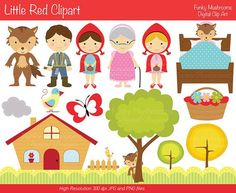 Digital Clipart - Little Red clip art for Scrapbooking, Invitations, Paper… Kit Scrapbook, Red Riding Hood Party, Red Ridding Hood, Candy Labels, Birthday Candy, Conte, Little Red, Paper Dolls, Minis
