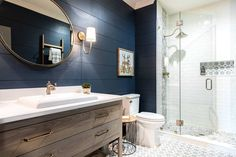 "Home Bunch on Instagram: ""Gorgeous #farmhousebathroom with #cementtile and navy #shiplap. I am #loving every detail found in this #bathroom! By @hartandlockdesig.…"""