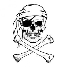 Black and white pirate skull and crossbones, also known as Jolly Roger, wearing a bandana.