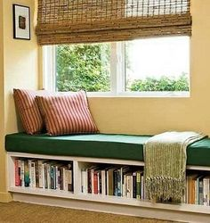 A window seat is a seating area in an alcove or nook that is lined with windows. There are several ways to create a corner window seat. Bookshelf Bench, Bookshelf Ideas, Bedroom Bookshelf, Bedroom Storage, Hallway Storage, Library Bookshelves, Bookcase Headboard, Kids Bookcase, Bookcases