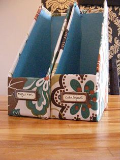 Paper Storage Box Diy Magazine Holders New Ideas Diy Magazine Holder, Magazine Storage, Magazine Organization, Magazine Rack, Fabric Storage Boxes, Paper Storage, Box Storage, Kitchen Storage, Storage Ideas