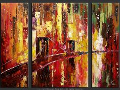 """Bridge To The World"" - Original Cityscape Art by Lena Karpinsky, http://www.artbylena.com/original-painting/20175/bridge-to-the-world.html"