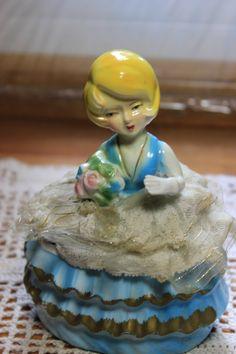 Ucagco Japan, 1950s girls trinket box/blue dress by StonesThrowTreasures on Etsy