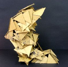 cardboard sculpture by a High School student, inspired by Futurism