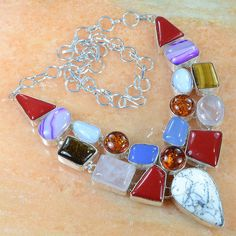 Dendritic Opal, coral, tiger eye, amber necklace