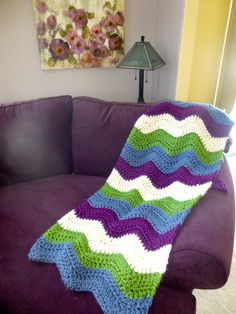 Purple, White, Blue, and Green Chevron Ripple Crochet Blanket