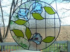 Stained Glass Bevel  Panel Blue Flowers Round Victorian Window Hanging  Sun Catcher