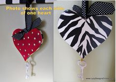 Hand Painted Wooden Valentine Heart Cutouts, Ornaments or Door Hangers, Stripes, Animal Print, Dots and Heart Decorations, Valentine Decorations, Christmas Crafts, Christmas Ornaments, Christmas Ideas, Arts And Crafts, Diy Crafts, Heart Ornament, Wooden Hearts