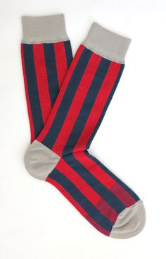 4th of July Essentials: red and blue striped socks designed by Doug & Gene Meyer