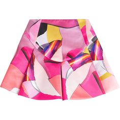 Kenzo Printed Satin Skirt ($250) ❤ liked on Polyvore featuring skirts, bottoms, pink, flare skirt, knee length pleated skirt, multi color skirt, multi colored skirt and satin pleated skirt