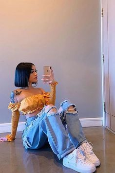 Black Girl Fashion Discover Be There Soon Crop Top - Mustard Cute Swag Outfits, Indie Outfits, Dope Outfits, Cute Casual Outfits, Retro Outfits, Vintage Outfits, Black Girls Outfits, Baddies Outfits, Bad Girl Outfits