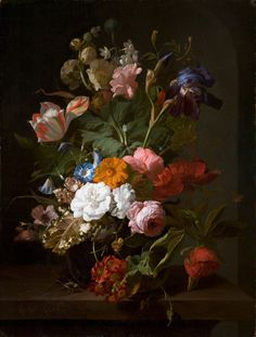 Rachel Ruysch, Vase of Flowers, Oil on canvas. Royal Picture Gallery Mauritshuis, The Hague Acquired in 1826 (inv. Image courtesy of the Royal Picture Gallery Mauritshuis, The Hague Art And Illustration, Botanical Illustration, Flower Illustrations, Art Floral, Flower Vases, Flower Art, Kunsthistorisches Museum, Dutch Still Life, Still Life Flowers