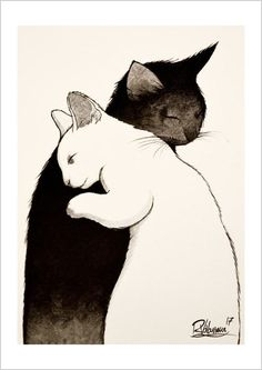 TOGETHER Original painting by Raphaël Vavasseur art Original painting: Fine art prints: Crazy Cat Lady, Crazy Cats, Animals And Pets, Cute Animals, Illustrations, Illustration Art, Here Kitty Kitty, Sleepy Kitty, Kitty Cats