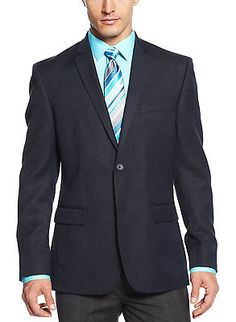 ALFANI Red Label Slim Fit Navy Blue Neat Two Button Sportcoat 46 Long 46L $250