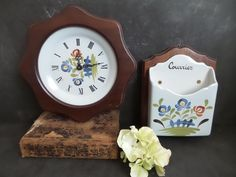 Rustic wall clock hand painted ceramic from Quimper Britanny with matching  Mail Holder . Quimper by CabArtVintage on Etsy
