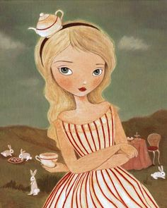 """""""Would you like a cuppa?"""" said Alice, tilting her head towards an empty tea cup."""