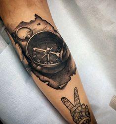 - 100 awesome compass tattoo designs j tattoo, wood tat Watercolor Compass Tattoo, Compass And Map Tattoo, Compass Tattoo Design, Skull Sleeve Tattoos, Hand Tattoos, Traditional Compass Tattoo, Maritime Tattoo, Calf Tattoo Men, Candle Tattoo