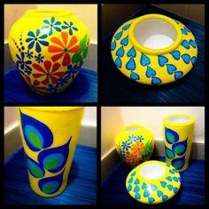New Painting Glass Vases Ideas Design 44 Ideas Glass Painting Designs, Pottery Painting Designs, Pottery Designs, Pottery Art, Painted Flower Pots, Painted Pots, Glass Bottle Crafts, Bottle Art, Vase Crafts