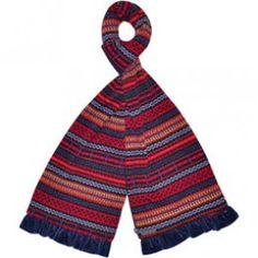 Blue fairisle jersey scarf
