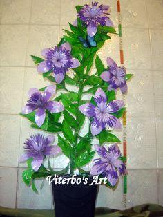 Flores em E.V.A. / PET / Meias de Seda: Arranjo para Canto de Sala - Garrafa PET