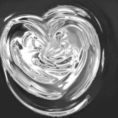image of melted hearts - silver heart with some soft folds and reflections - JPG