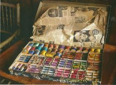 a box of Lady Ottoline Morrell's silk sewing threads left at Garsington