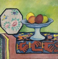 Still life with bowl of apples and Japanese fan - August Macke