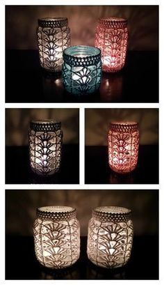 Crochet Pattern Light Mason Jar Cover Free Crochet Pattern - Mason Jar are perfectly versatile decorations. They look even better with crochet cozy, which can be made with Mason Jar Cover Free Crochet Patterns. Diy Tricot Crochet, Crochet Motifs, Crochet Gifts, Free Crochet, Learn Crochet, Crochet Christmas Gifts, Christmas Crochet Patterns, Pot Mason Diy, Mason Jar Crafts