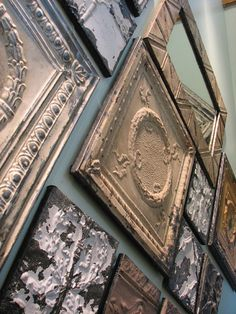 reuse antique ceiling tins - mine is above my mantle