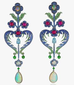 Lydia Courteille, Topkapi collection, earrings, Welo opal, Paraiba tourmalines, sapphires, rubies, tsavorites, black rhodium gold
