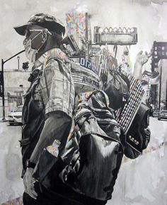 """Marco Zamora creates paintings of a fantastic, almost whimsical Los Angeles despite being about the streets. They're about people and trash and homelessness and desperation painted in black and white but with touches of color, which evoke a sense of hope."""