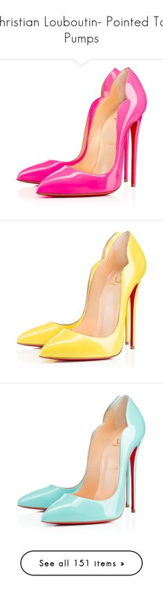 """""""Christian Louboutin- Pointed Toe Pumps"""" by sakuragirl ❤ liked on Polyvore featuring shoes, pumps, heels, louboutin, christian louboutin, shocking, christian louboutin pumps, high heeled footwear, pink heeled shoes and patent leather pumps"""