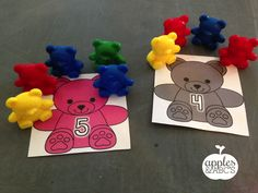 Kids LOVE using manipulatives during math time and I LOVE teaching with them. I had a ton of these math bear counters in my room, but didn. Abc Centers, Learning Centers, Eyfs Activities, Learning Activities, Preschool Math, Kindergarten Math, Math Counters, Numeracy, Apples