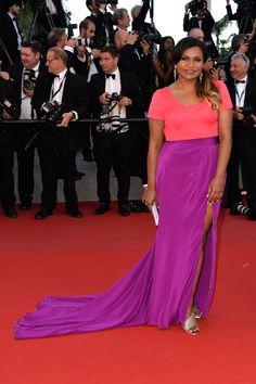 She wears a custom, Salvador Perez salmon and purple two-piece look.   - MarieClaire.com