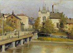 Alma Judén, maalaus 1900-luvun alku. Pitkäsilta ja Siltasaari.