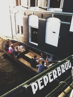 Gebr. Hartering, Amsterdam: Two brothers, a simple and honest formula of eating whatever the chefs have prepared for that day and a very cosy industrial interior … the restaurant even had a boat for eating al fresco