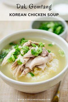 Korean Chicken Soup, Healthy Chicken Soup, Asian Soup, Chicken Soup Recipes, Chicken Soups, Turkey Recipes, Korean Soup Recipes, Indian Food Recipes, Asian Recipes