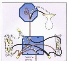 Light with Outlet Switch Wiring Diagram Kitchen Electrical Diagram, Electrical Wiring Diagram, Electrical Work, Electrical Projects, Electrical Outlets, Electrical Engineering, Residential Electrical, Outlet Wiring, Garage Atelier