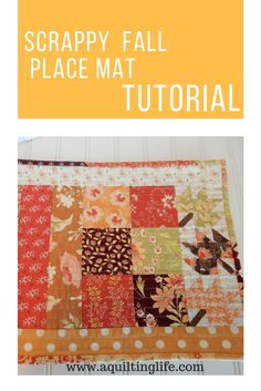 Fall Place Mat Tutorial - A Quilting Life Fall Placemats, Table Runner And Placemats, Quilted Table Runners, Quilting Tips, Quilting Projects, Fall Sewing Projects, Sewing Ideas, Straight Line Quilting, Sewing To Sell