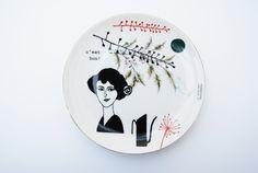 Antique plate with Emilienne (c'est bon!) #1003 by celindaversluis on Etsy
