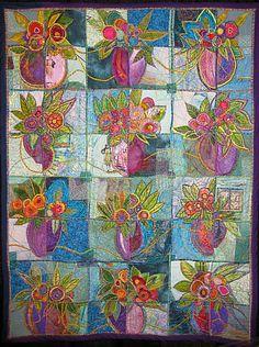 the cubist's edge Art Fibres Textiles, Textile Fiber Art, Quilt Modernen, Flower Quilts, Landscape Quilts, Contemporary Quilts, Mini Quilts, Applique Quilts, Fabric Art