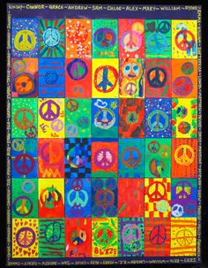 Peace!  3rd graders painted peace signs on individual canvases which were compiled into a single 30x40 work of art for school auction.
