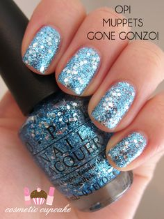 """OPI Muppets collection """"Gone Gonzo"""": gobs of glittering blue hues. Love it! - #collection #glittering #gonzo #muppets Fancy Nails, Cute Nails, Pretty Nails, Glittery Nails, Sally Hansen, Manicure Y Pedicure, Opi Nails, Nail Polishes, Nail Polish Colors"""