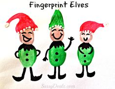 Fingerprint Elves Craft for Kids - Super cute christmas craft for kids #Elf | CraftyMorning.com
