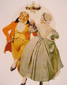 "Norman Rockwell ""Merrie Christmas Couple Dancing Under the Mistletoe"" (1928)"