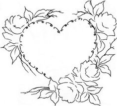 Risco para o Dia das Mães Silk Ribbon Embroidery, Cross Stitch Embroidery, Painting Patterns, Fabric Painting, Embroidery Patterns Free, Embroidery Designs, Colouring Pages, Coloring Books, Coeur Tattoo
