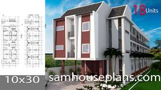 Apartment Plans with 18 UnitsThe House has:-Car Parking and garden-Living room,-Dining Bedrooms units Bed units House Layout Plans, New House Plans, Modern House Plans, House Layouts, House Floor Plans, Plans Architecture, Interior Architecture, Home Design Plans, Plan Design