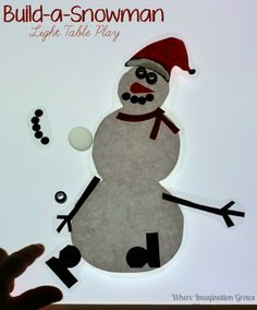 Simple open-ended winter crafts for kids! Build-a-snowman on the light table is a great winter or Christmas activity for your preschooler!
